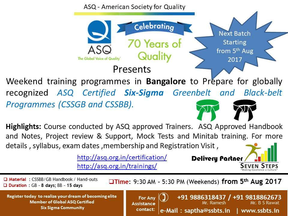 Asq Bok Six Sigma Green And Black Belt Training Bengaluru