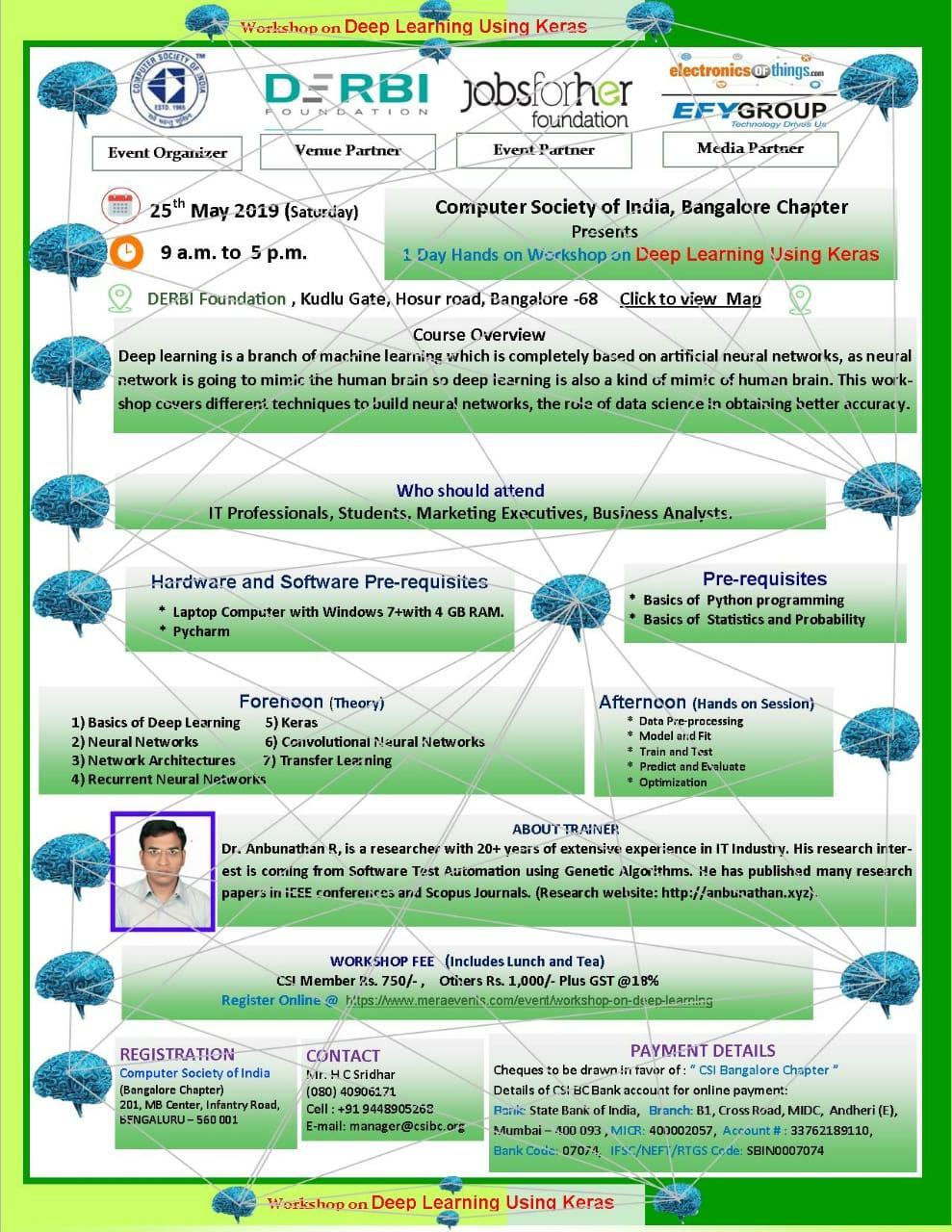 Workshop on Deep Learning - Bengaluru | MeraEvents com