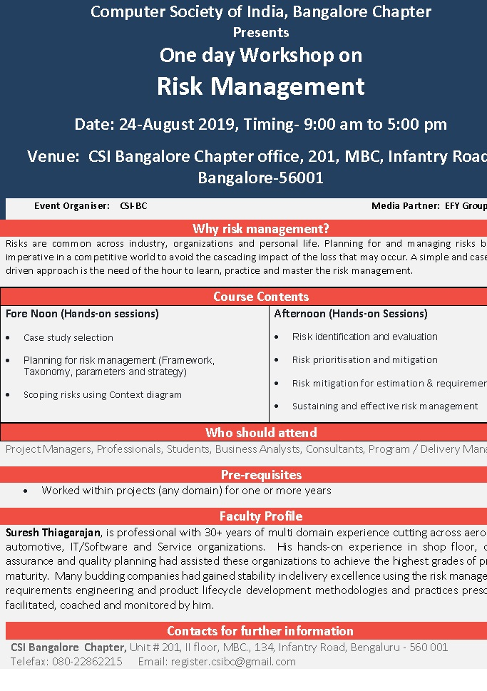 One day Workshop on Risk Management on 24-Aug-2019 at CSI