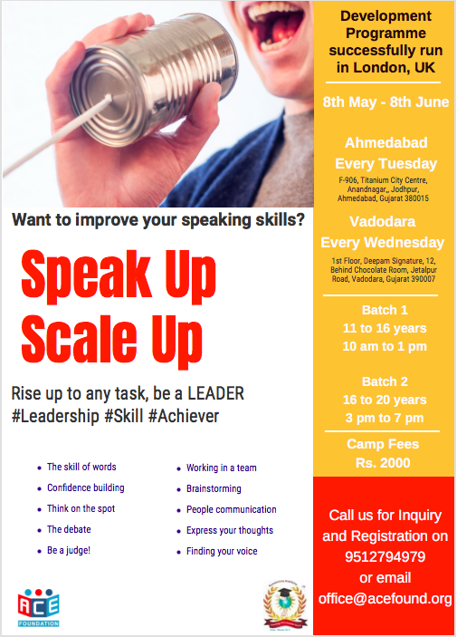 public speaking and confidence building summer programme