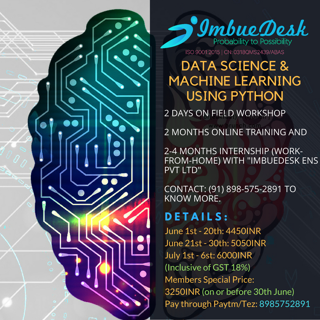 INTERNSHIP + TRAINING + WORKSHOP on DATA SCIENCE, MACHINE LEARNING
