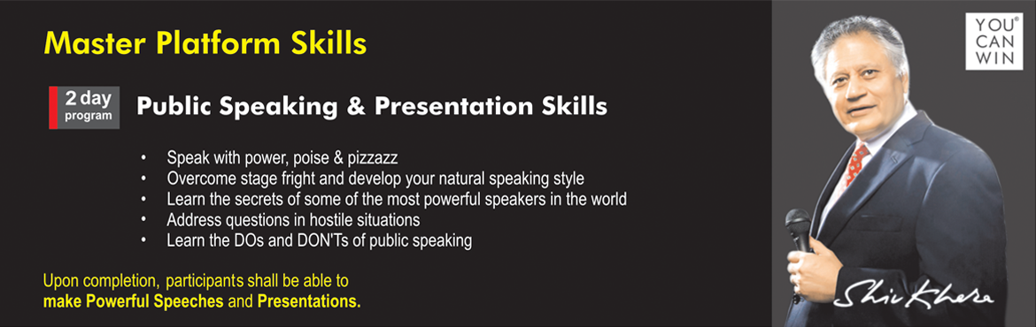 Book Online Tickets for Public Speaking and Presentation skills , Chennai. Public Speaking and Presentation skills  Master Platform Skills 2 days of coaching and a lifetime of courage to stand in front of everyone   SPEAK WITH POWER, POISE & PIZZAZZ  GAIN RESPECT  Gain confidence to face any audience Overcom