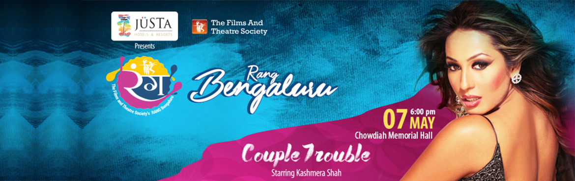 Book Online Tickets for Rang Bengaluru Couple Trouble, Bengaluru. Couple Trouble starring Kashmera Shah paints a picture of sexual fantasies of married men and aims at exposing their double standards. The play is about four characters that want to have sexual pleasure outside their marriages, but are limited by the