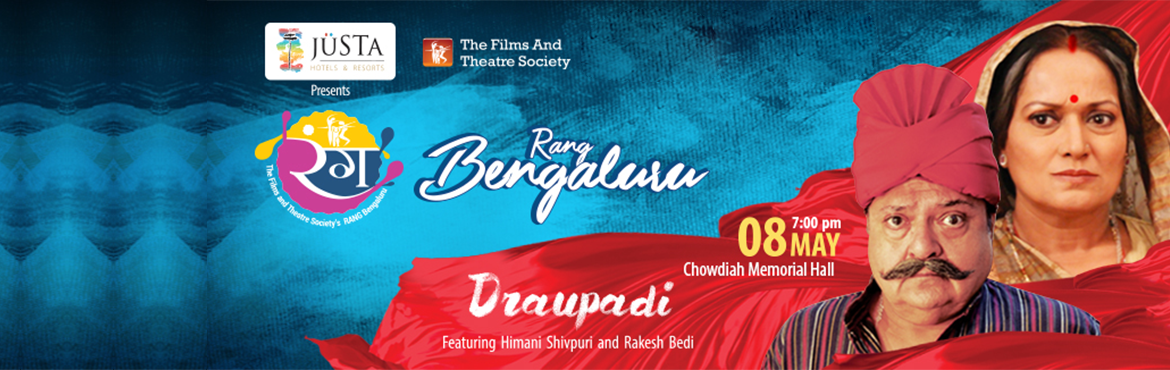 "Book Online Tickets for Rang Bengaluru Koushiks Draupadi, Bengaluru. Delhi's The Films and Theatre Society brings ""Draupadi"" starring Himani Shivpuri & Rakesh Bedi on the closing day of Rang Bengaluru. Draupadi has always been a celebrated character of the epic of Mahabharata. Many myths, convent"