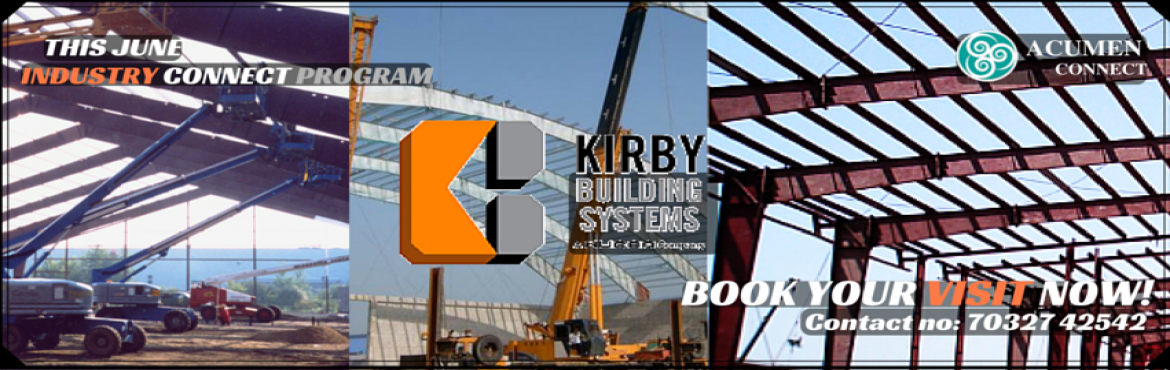 Book Online Tickets for INDUSTRIAL VISIT TO KIRBY BUILDING SYSTE, Hyderabad. As pioneers and global leaders in the field of pre-engineered steel building systems (PEB) outside the United States of America, we have contributed significantly to the industry and learnt many things in the course of manufacturing over 65,000 build