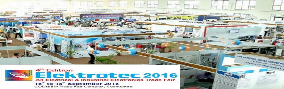 Book Online Tickets for Largest electrical and industrial electr, Coimbatore. Event Profile Elektrotec 2016 is one of the largest electrical and industrial electronics sector trade events in India. The show registers high overall visitor figures and facilitates smooth exchange of relevant business information among t