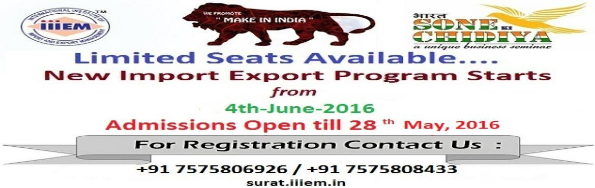 Admissions Open for Export Import Program Surat