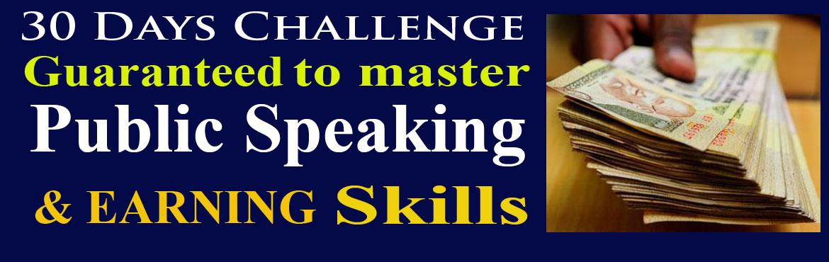 Book Online Tickets for 30 Days Challenge to master Public Speak, Hyderabad. Is fear of Public Speaking and Presentation Skills barrier in your progress? Public Speaking can be mastered by practice and practice. To practice public speaking & presentation skills we have created a right environment & platform for this s