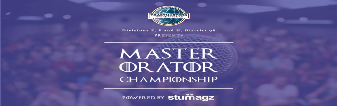 Book Online Tickets for Master Orator Championship 2016, Hyderabad. About Master Orator Championship Master Orator Championship is a hunt for the best orator in the college circuit of the two states of Telangana and Andhra Pradesh. The students are sieved through multiple rounds of selection starting from qualifiers
