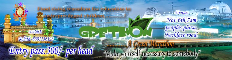 Book Online Tickets for Grethon 5K -  A Green Marathon. November, Hyderabad. The Rotaractors of Rotatarct club of Hitech are organizing a marathon 5k  to Raise funds for educating the underprivilaged children. This  marathon is named as GRETHON- a green marathon as it is organized in the  green month of year i.e. November. Th