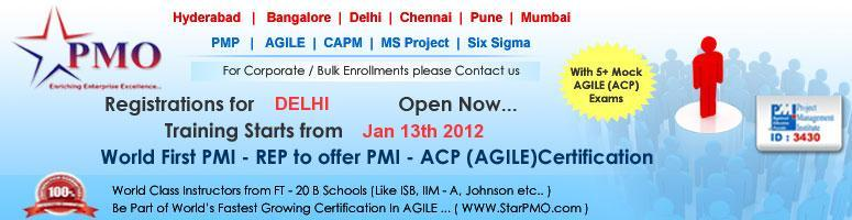 First time in Asia - PMI Agile Certified Practitioner (PMI-ACP)SM @ Delhi, 13-15 Jan\'12
