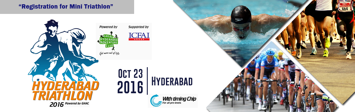 Book Online Tickets for Hyderabad Triathlon 2016 - Registration , Hyderabad. The Hyderabad Triathlon 2016   Spot Registrations are availble at GMC BALAYOGI PARYATAK BHAVAN,  GreenLands, Begumpet,  Hyderabad  Date: Oct-22-2016; Time 10:00 AM to 2:00 PM.  Spots are very limited and it\'s on first come f