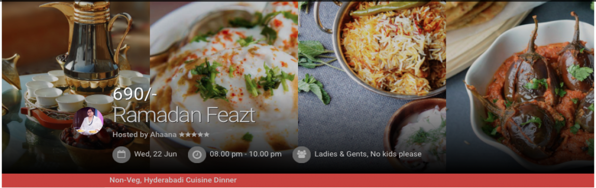 Book Online Tickets for Iftaar Feazt, Hyderabad. No matter in which part of the world you live , you will wish you live in Hyderabad during Ramada!! We are in that month when Hyderabad doesn't sleep but hustles and bustles with all the Eid glitter-The old city decorated like a n ...ew bride a