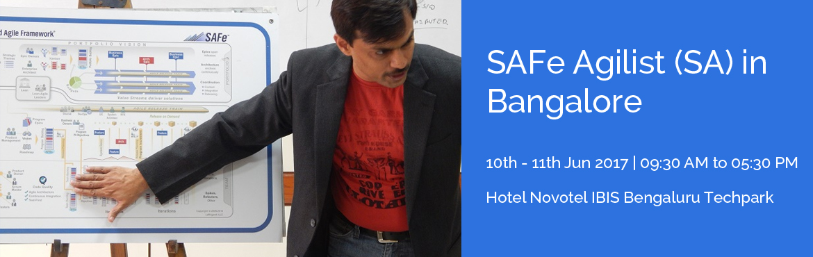 Book Online Tickets for SAFe Agilist (SA) in Bangalore, Bengaluru. Overview The SAFeAgilistTraining in Bangalore is for executives, managers and Agile change agents responsible for leading a Lean-Agile change initiative in a large software enterprise. It validates their knowledge in applying the Scaled Agile Framewo