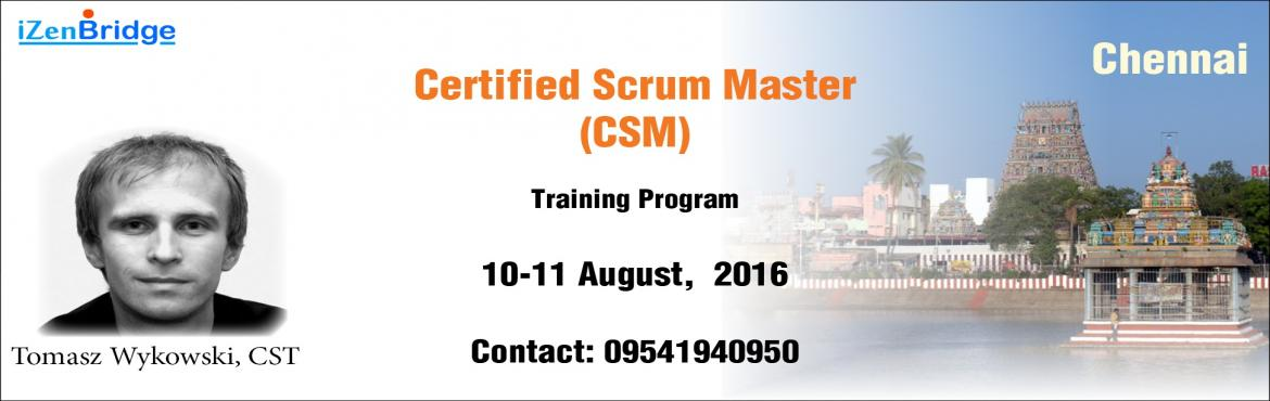 Book Online Tickets for Certified Scrum Master Training in Chenn, Chennai. Scrum and Agile and the buzzwords in the IT industry today, Scrum in particular has emerged as the most popular agile Framework. Scrum Masters has emerged as one of the highly paid and recognized role in IT industry. Scrum Masters are the change agen