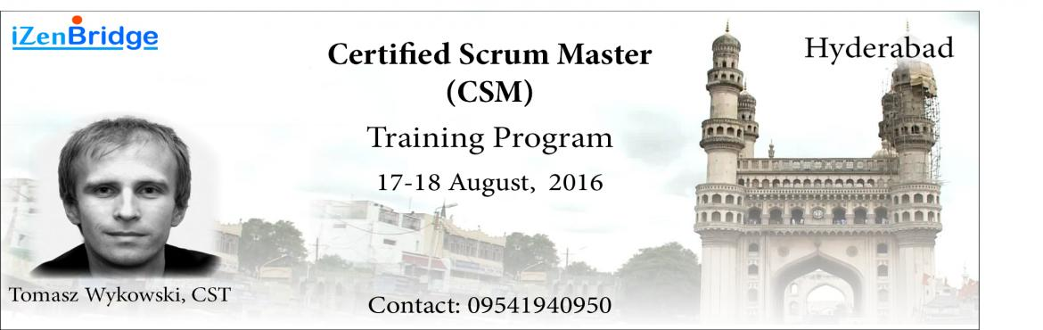 Book Online Tickets for Certified Scrum Master Training in Hyder, Hyderabad. Scrum and Agile and the buzzwords in the IT industry today, Scrum in particular has emerged as the most popular agile Framework. Scrum Masters has emerged as one of the highly paid and recognized role in IT industry. Scrum Masters are the change agen