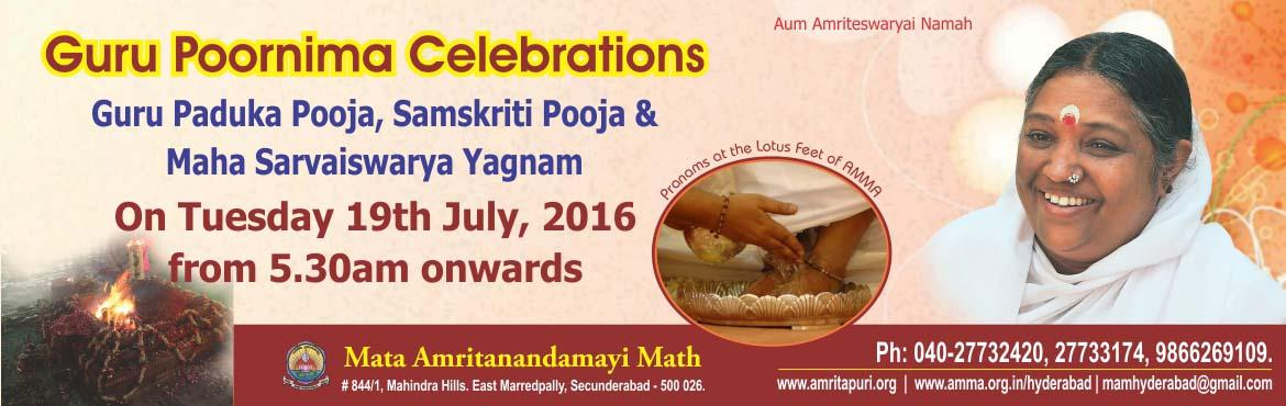 "Book Online Tickets for Guru Poornima Celebrations, Secunderab. Satguru Sri Mata Amritanandamayi Devi (AMMA) needs no introduction. Mata Amritanandamayi Devi a distinguished and beloved humanitarian is known throughout the world as ""AMMA"" and esteemed internationally  for her tireless efforts on"