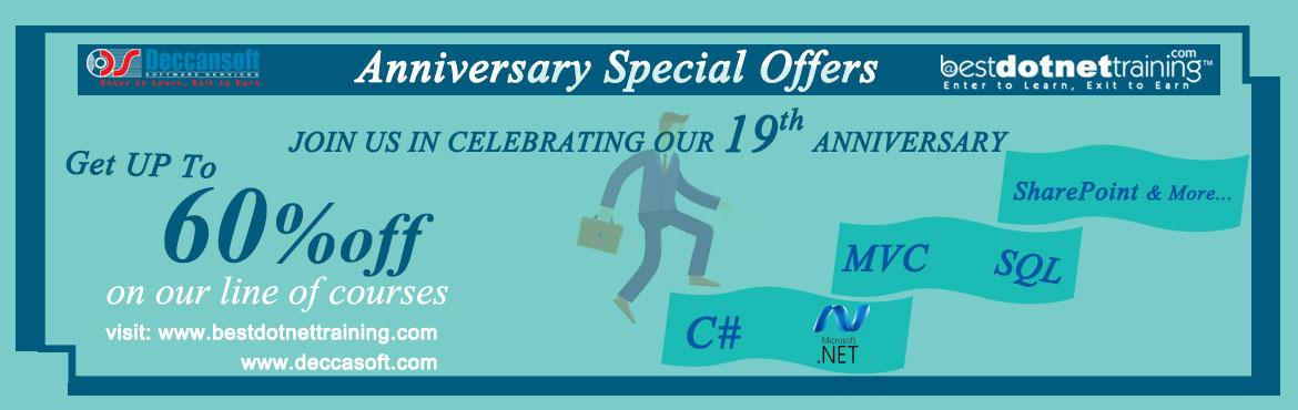Book Online Tickets for Avail Amazing Offers On C Sharp, ASP.NET, Hyderabad. We are turning 19 years old this week and we want to share our happiness with you. Today, we are proud to be recognized as a Leading Technology Training Hub in Hyderabad area, specializing in both Classroom and Online Platform We are o