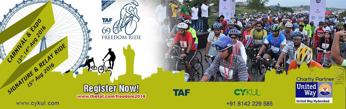 Book Online Tickets for Freedom Ride - 2016 , Hyderabad. Come Join!!! Let\'s Celebrate Freedom day in a Unique way.  India\'s Biggest and Longest cycling event is back again. TAF with Charity partner United Way Hyderabad is Hosting its 8th edition of Freedom Ride 2016 at Gachibowli Stadium. What\'s New thi