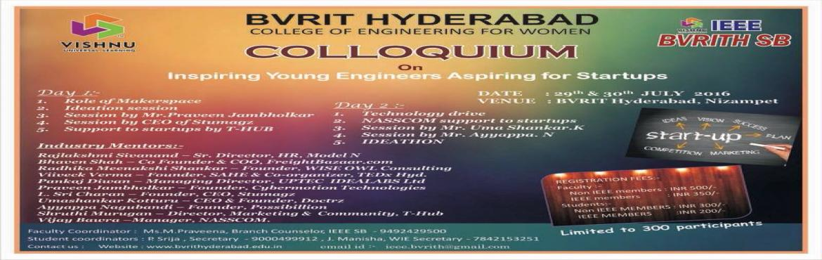 Book Online Tickets for Colloqium on Inspiring Young Engineers t, Hyderabad.