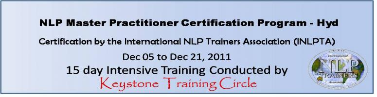 NLP Master Practitioner (INLPTA) Certification Program in Hyd