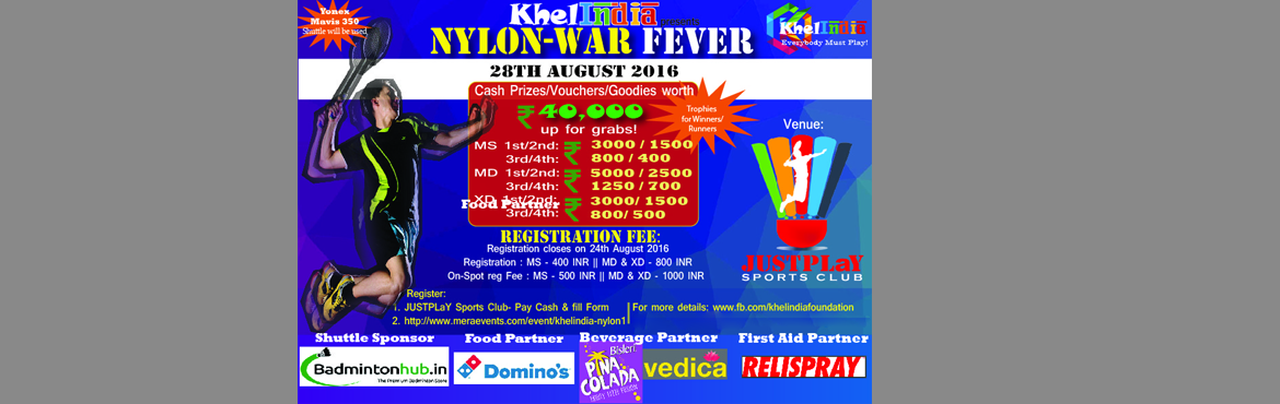 Book Online Tickets for KhelINDIA - Nylon-War Fever, Bengaluru. KhelINDIA continuously strives to bring more events, more excitement and more enthusiasm to Bangalore! We believe that no matter what, - Everybody Must Play!  Rules for the tournament: ü  The tournament is open to all Non Seeded Indivi