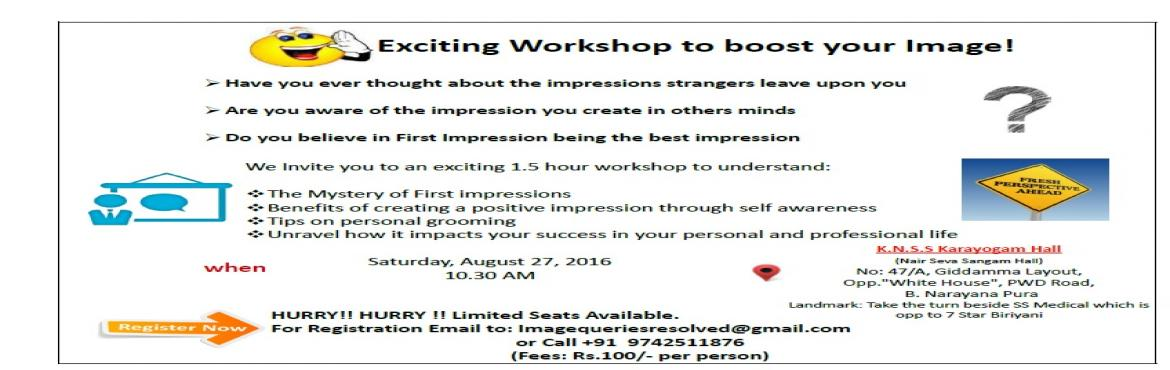 Exciting workshop on boosting your Image.