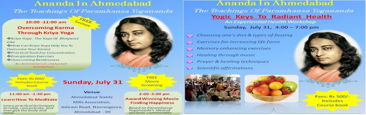 Meditation and keys to Health workshop in Ahmedabad by Ananda Sangha