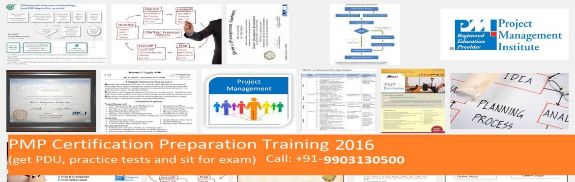 Book Online Tickets for PMP Certification Preparation Classroom , Kolkata. Dear all, Mark your calendar - the next batch of PMP Certification Training with PDUs is scheduled to be held in Kolkata from 20th August 2016 (4 days). Dates: 20th August 2016, 21st August 2016, 27th Augu
