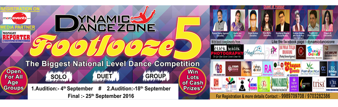 Book Online Tickets for Dynamic Dance Zone Footlooze 5, Hyderabad. Dynamic Dance Zone presents the fifth edition of Footlooze  A dance platform for all you talented dancers.   The Footlooze Dance competitions helps to promote the art of dance and creates a positive outlet for kids and youth. The