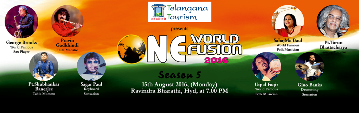 Book Online Tickets for One World Fusion 2016 Season 5, Hyderabad. One World Fusion 2016 is the musical event of the season. It presents the doyens of Hindustani classical in an interesting and novel 'fusion concept'. It is bringing the greats of Hindustani Classical to the land of the Nizam. One World F