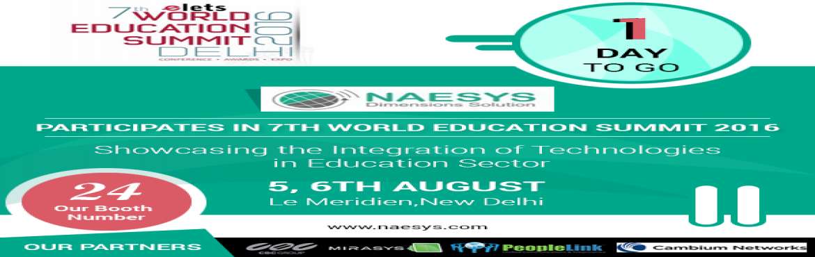 Naesys Takes Pride To Be The Lead Sponsor For 7th World Education Event 2016 To Be Held On 5-6 August