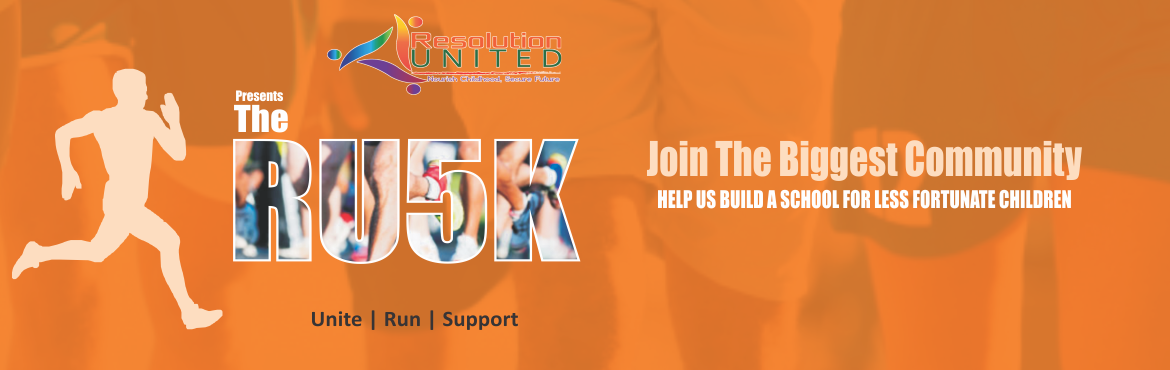 Book Online Tickets for The RU5K - A Fundraising Marathon, Hyderabad. Resolution United Presents   5K Run  (A fundraising marathon)   Ru 5k run is organized by Resolution United an ngo working to protect children and to give them free education in a residential school which has all the amenities. Th