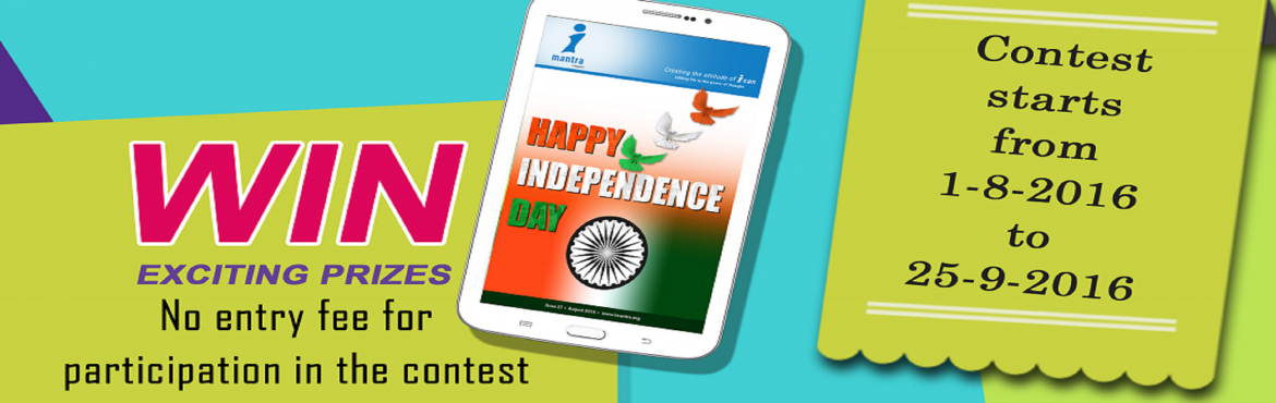 Book Online Tickets for Online Article Writing Contest - 2016, Hyderabad. GUIDELINES FOR WRITERS Write a brief article on anyone of the topics mentioned in the contest.The best top 3 articles will win a tablet computer each and the top 7 articles will win Imantra e-magazine's Certificate of Appreciation alo