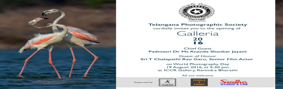 Book Online Tickets for TPS Galleria 2016 (Photography Exhibitio, Hyderabad. Telangana Photographic Society (TPS), formerly Andhra Pradesh Photographic Society (APPS), estd. 1957, invites you to come & celebrate the world photography day with finest photographers in TPS Galleria 2016 at ICCR Gallery, Ravindra Bharathi, Hy