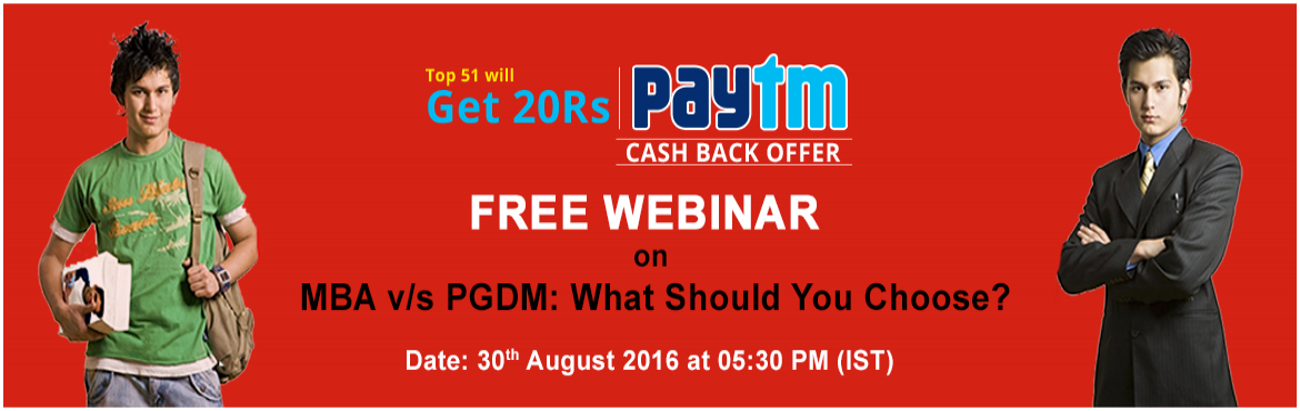 Tagmycollege invites you to a webinar to help you decide whether you should opt for an MBA or a PGDM.