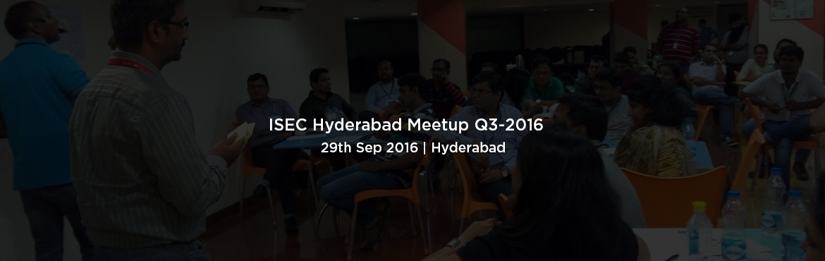 Book Online Tickets for ISEC Hyderabad Meetup Q3-2016 | 29 Sept , Hyderabad. Date: September 29th , 2016 Time: 05:30 PM to 08:15 PM Venue: VirtusapolarisFinancial DistrictHyderabad. Program Theme:Over coming the Rinky-Dink Scrum: Prevention is better than cure With Scrum and Agile making its most happening buzz arou