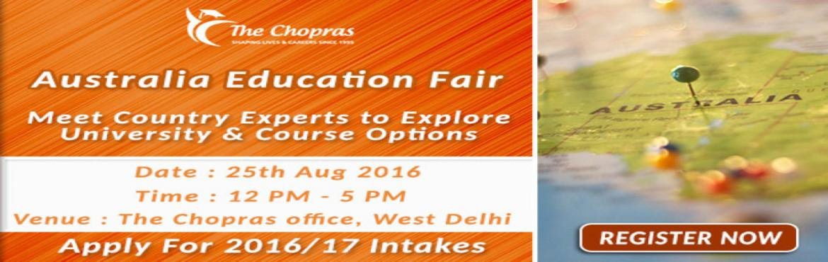 Book Online Tickets for The Chopras Announced - Australia Educat, NewDelhi. Want to study in Australia?Australia as a country is renowned for letting its students choose courses and subjects which best suit their personal goals. Thus, once you are in this country you'll get the most innovative, independent, and unique