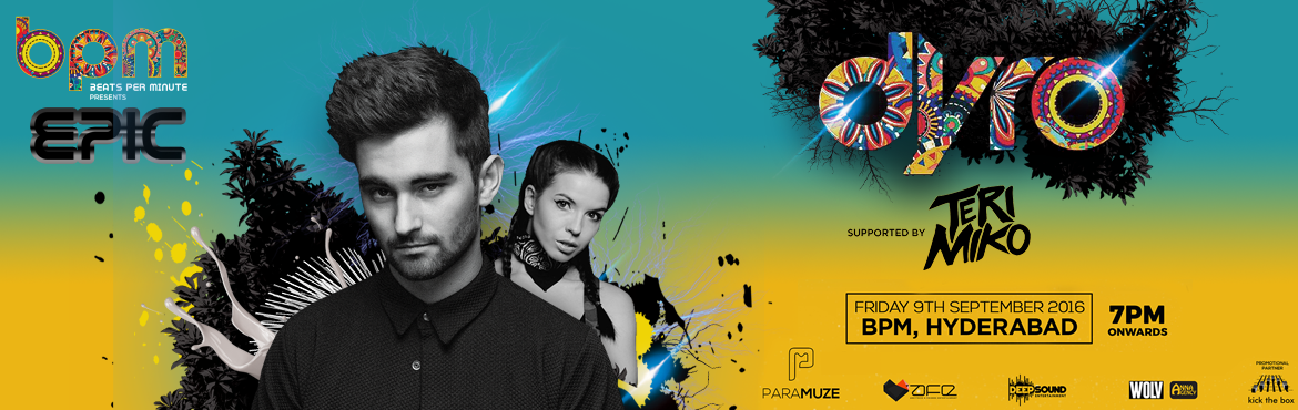 Book Online Tickets for BPM Epic with Dyro, Hyderabad. About Event :- World no 27 Dance Music Epitome ::DYRO:: comes to electrify the city of Nawabs at the open air colosseum of music & arts • BPM • this September! Massive stacks of sound systems, futuristic structures of 3-dimensional ligh