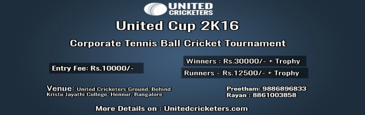 Book Online Tickets for United Cup 2K16, Bengaluru. Match Details Number of participating teams being : 16 teams These teams have been divided into 4 groups, each comprising 4 teams. Each team will play 3 league matches in the League Stage. The top team from each group shall play the knockout rounds c