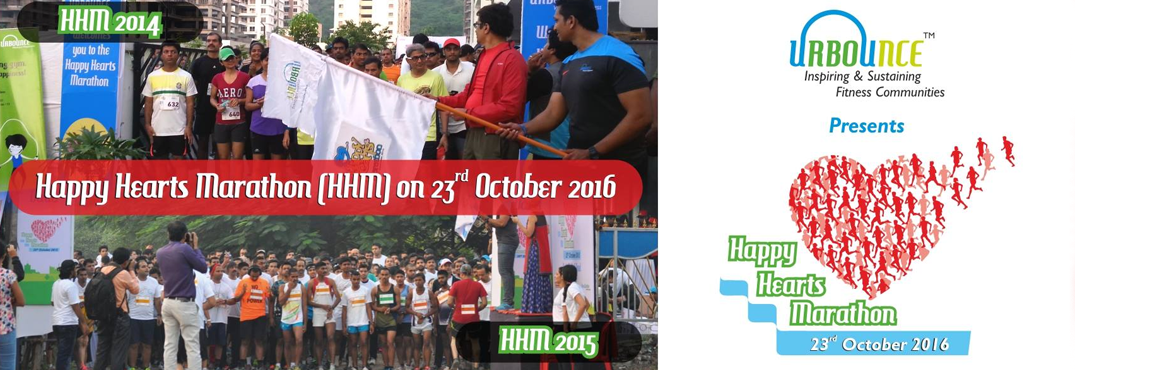 Book Online Tickets for Happy Hearts Marathon 2016, Pune. Use discount code URBOUNCE and get 50% discount on 1 Km booking now. Happy Hearts Marathon (HHM) is an annual marathon organised by URBOUNCE (Venture of Infinite Life Fitness Pvt. Ltd.) in Pune to make every citizen fit with a happy & health