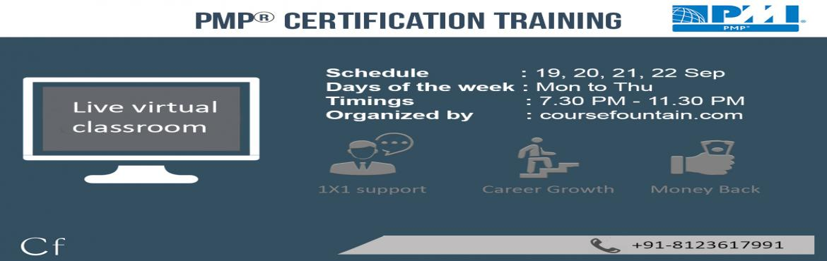 Book Online Tickets for PMP Live-Virtual-Classroom Training (Sep, Bengaluru.  Key Features :   16 Hrs of Live Virtual Classroom Training targeted to 2016 Exam 35 Hrs of self-paced Video (Access for 6 months) Get 35 PDUs after course completion Batch Size limited to 20 participants only 100+ End-of-Chapter Tests and 4 Moc