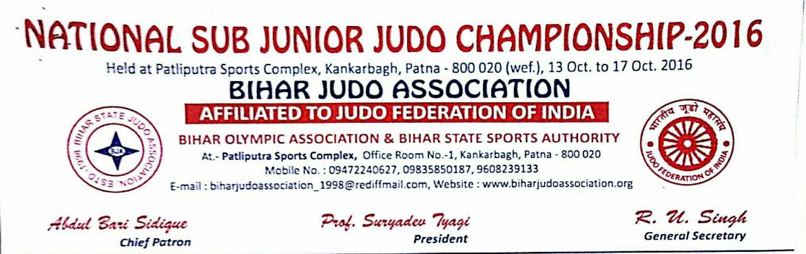 Book Online Tickets for NATIONAL JUDO CHAMPIONSHIP, SUB-JUNIOR G, Patna.