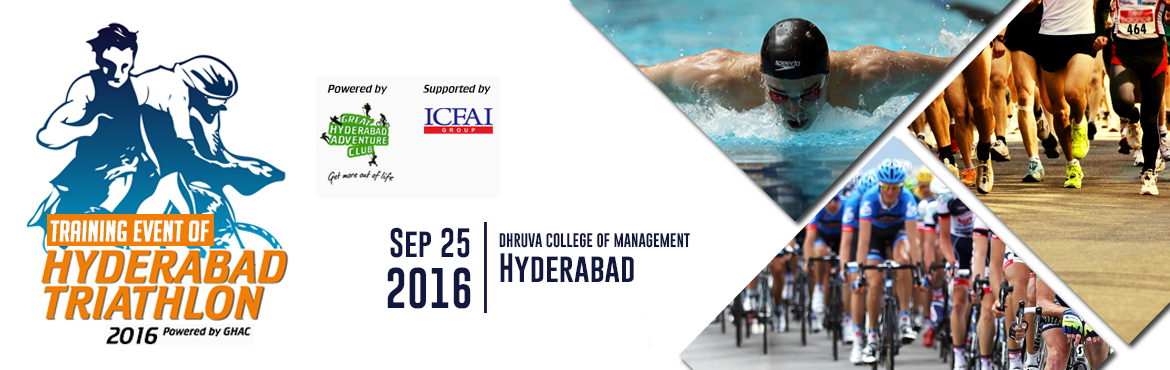 Book Online Tickets for Training Event for Hyderabad Triathlon -, Secunderab. This is the training event for the Hyderabad Triathlon happening on 23 October 2016.   Categories:   Olympic Duathlon : (10 Kms Run, 40 Kms Cycle, 5 Kms Run) Sprint Duathlon : (5 Kms Run, 20 Kms Cycle, 3 Kms Run) Novice Duathlon : (8 Kms Cy