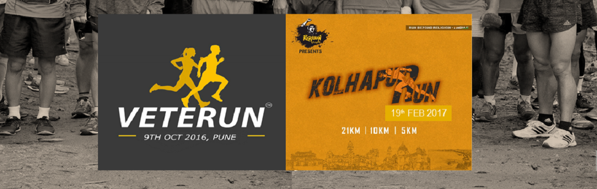 Book Online Tickets for VETERUN 2016 + Kolhapur Run 2017, Pune. What could be a better feast than getting to register for the two unique running events in two different cities with a HUGE discount! Here is the package, designed especially for you runners! Register for VETERUN 2016 scheduled on 9th October an