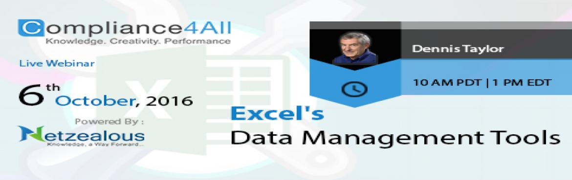 Book Online Tickets for Online Training on Excels Data Managemen, Fremont. Overview: Microsoft says that up to 70% of users surveyed use Excel to maintain a database or large lists. To be truly proficient in Excel, you must be familiar with these tools to manage data efficiently. It\'s all the more important as data collect