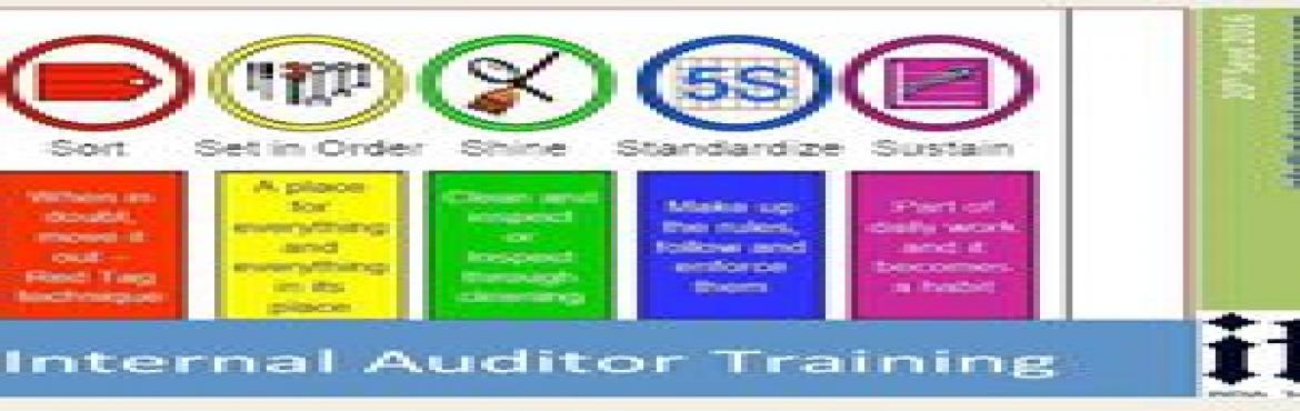 Book Online Tickets for 5S Internal Auditor Training, Faridabad. 5S AUDITOR TRAINING5-S is the first step towards Total Quality Management (TQM).5-S denotes: Structurize, Systematize, Sanitize, Standardize & Self-Discipline. The 5-S Auditor Training is designed to give you the relevant skills and knowledge to