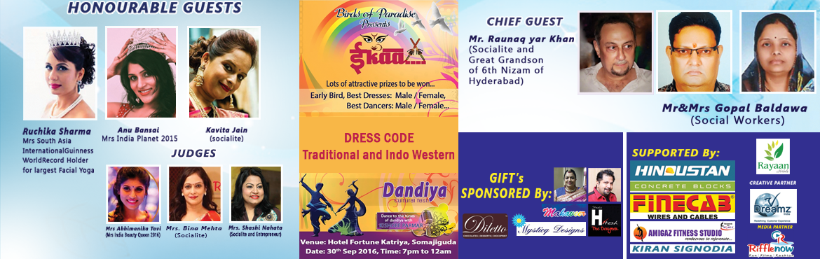 Book Online Tickets for EKAA....The Dandiya Cultural Fest at Kat, Hyderabad.   Finally, the wait for a fun filled evening with food and dance is over.....birds of paradise club brings to you. Ekaa .. The dandiya cultural fest..... With live performance by the famous singer mr.kishore parmar.....d