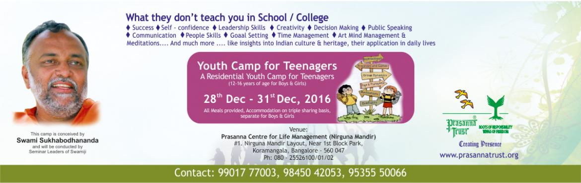 Book Online Tickets for  Youth Camp Residential, Bengaluru. Some of the most formative years of a person's life are between the ages of 12 to 25 years. Negative peer pressure, exam pressure, emotional turmoil from life-changing events, among many other challenges, makes this a particularly difficult per