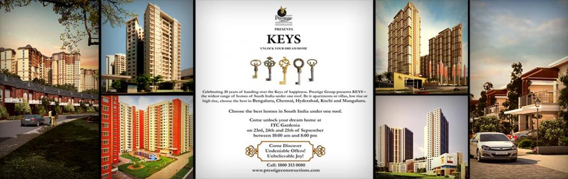 Book Online Tickets for KEYS: A Residential Property Expo by the, Bengaluru. Prestige Group, one of India\'s most successful property developers, will embrace the momentous occasion of turning 30 years by hosting their first ever Property Expo - KEYS. The Expo will be a presentation of all their on-going Residential Developme
